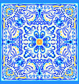 blue painting on ceramic tile seamless pattern vector image