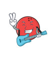 bowling ball character cartoon with guitar vector image vector image