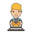 boy cartoon with laptop vector image