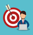 business people with target arrow training icon vector image vector image