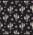 cactus plant black seamless pattern vector image