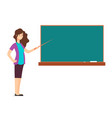 cartoon teacher woman at blackboard teaching vector image