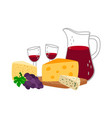 cheese and wine vector image vector image