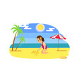child drawing on send beach and ocean vector image vector image