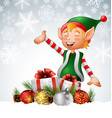 christmas background with elf deer and gift boxes vector image vector image