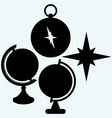 Compass and globe vector image