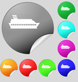 Cruise sea ship icon sign Set of eight multi vector image vector image