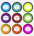 cube icon sign Nine multi colored round buttons vector image