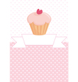 Decorated card with cupcake and pink polka dots vector image vector image