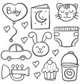 doodle of baby style hand draw vector image vector image