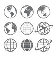earth globe icon set vector image vector image
