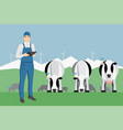 farmer with digital tablet on a cattle grazing vector image