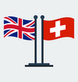 flag of united kingdom and switzerland flag stand vector image