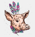hand drawn pig sketch symbol vector image