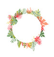 hand drawn tropical flower circle frame vector image