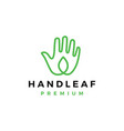 hand leaf care logo icon vector image vector image