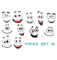 Happy emotions on cartoon faces vector image vector image