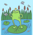 happy frog in rushy swamp with flies vector image