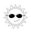 Happy sun fun icon black whtie vector image