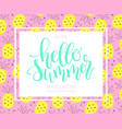 hello summer hand lettering design element vector image