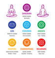 human energy chakra system asana icons set vector image vector image