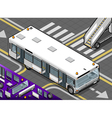 Isometric Airport Bus with Open Doors in Front vector image vector image