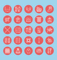 knitting crochet hand made line icons set vector image vector image