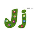 letter jj with a texture of grass and flowers vector image vector image