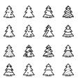 line christmas tree icon set vector image