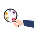 magnify glass with virus cartoon vector image