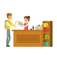 Man Taking The Books Fro The Librarian Smiling vector image vector image