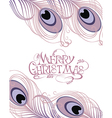 Merry Christmas card with feathers vector image vector image