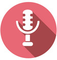 microphone icon on long shadow vector image vector image