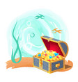 mysterious chest treasures at deep sea bottom vector image vector image