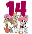 number fourteen for kids with cartoon farm vector image vector image