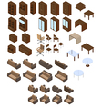 Set of furniture in brown colors vector image