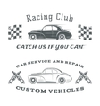 Set of two vintage classic car labels racing vector image