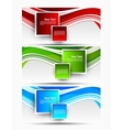 Set of wavy banners with squares vector image vector image