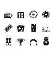 Silhouette gambling and casino Icons vector image vector image