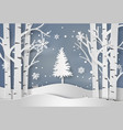snowflakes and christmas tree vector image vector image