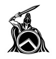 spartan sign with a sword and shield vector image