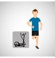 sport man running elliptical trainer vector image vector image