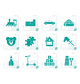 stylized different kinds of toys icons vector image vector image