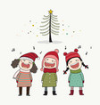 three kids singing christmas caroling vector image