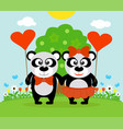valentines day background with pandas vector image
