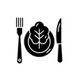 vegetarian menu black icon sign on vector image