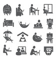 work at home icons on white background vector image vector image