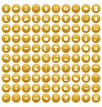 100 clouds icons set gold vector image vector image