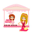 a woman buying cake at a bakery store vector image
