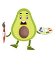 avocado with color palette on white background vector image vector image